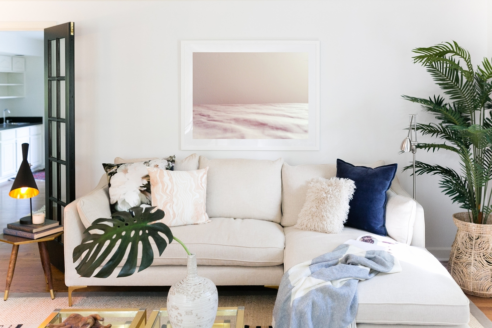 Coastal Living Room With White Sectional Sofa