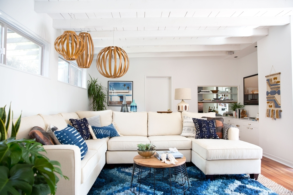 boho style blue living room decor