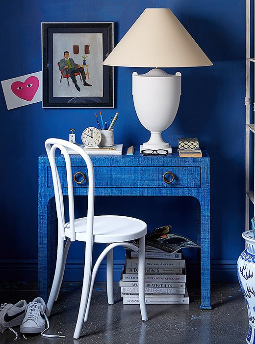 classic blue walls and decor
