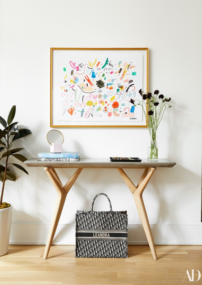 Modern Console Table With Framed Art