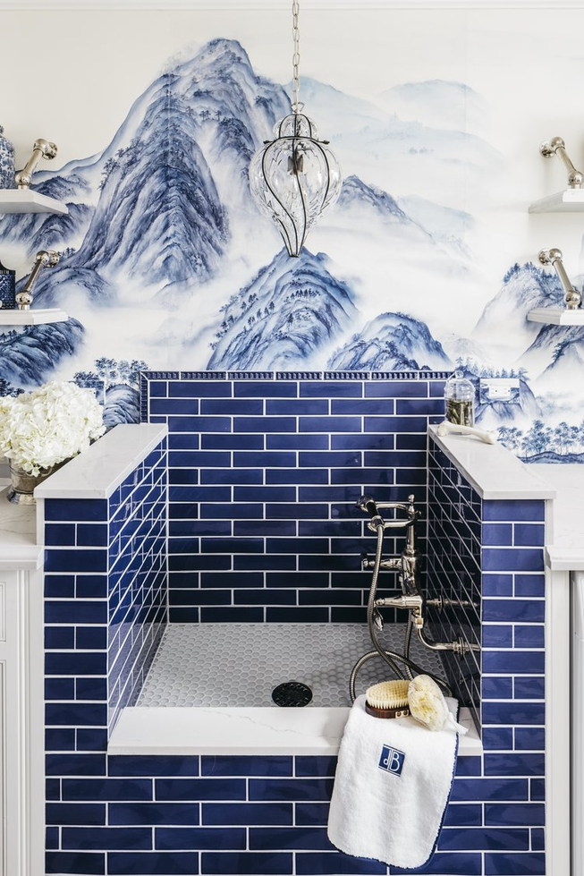 DeGournay Wallpaper Bathroom With Blue Bathroom Tile