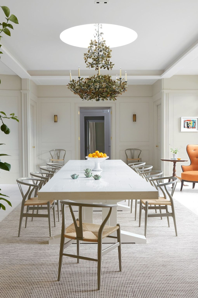 Taupe Dining Room With Wishbone Chairs