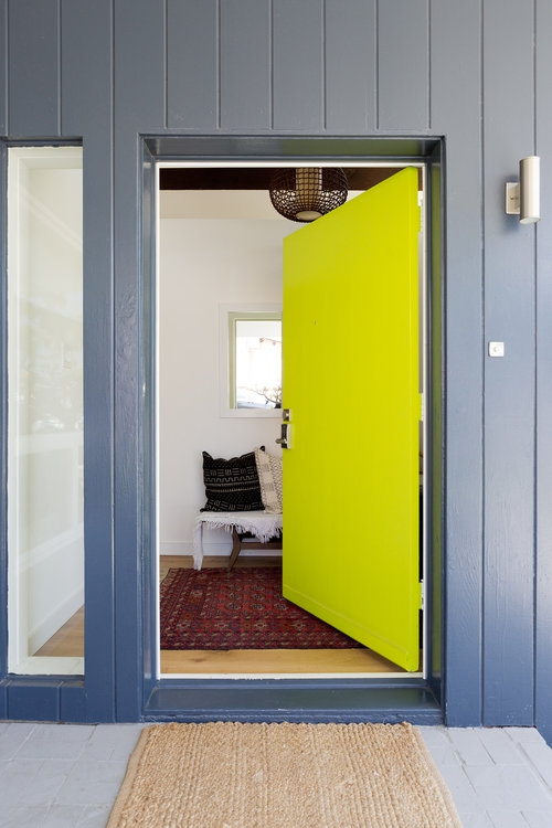Midcentury Modern House With Chartreuse Green Front Door