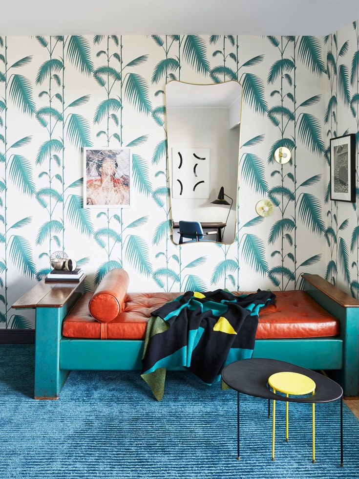 Italian Modern Room With Palm Wallpaper and Daybed