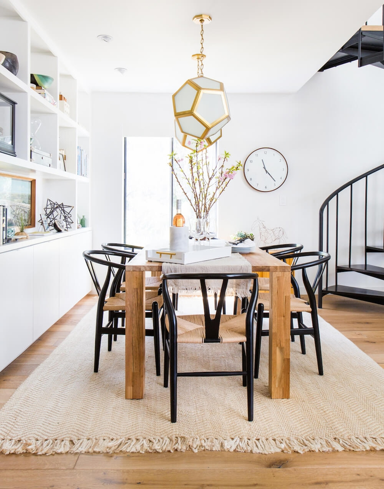 Emily Henderson Dining Room With Black Wishbone Chair